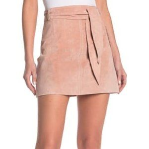 Blank NYC Rose 100% Leather Suede Paperbag Skirt